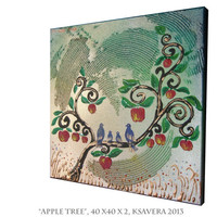 Apple Tree Painting on Canvas Love birds family Art Blossom Landscape impasto of life Woodland Enchanted Forest flowers Floral