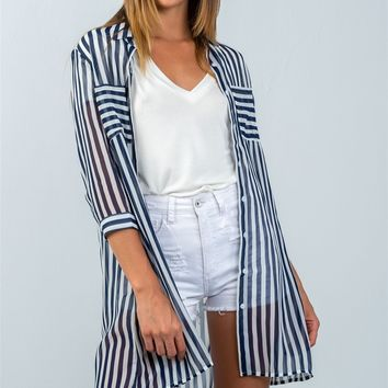 Navy or Red 3/4 sleeve Semi Sheer Striped Hi-Low Blouse