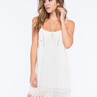 Socialite Lace Trim Dress Cream  In Sizes