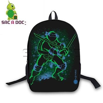 Anime Backpack School kawaii cute Teenage Mutant Ninja Turtles Backpack Teens Fluorescence Book Bag Leo Raph Mike Don Printing Travel Bag Kids School Bags AT_60_4
