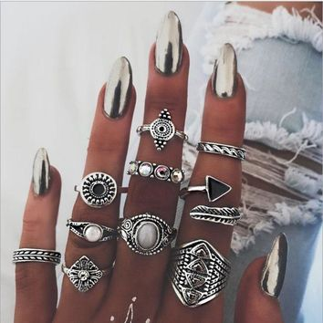 Hot style joint ring sells vintage national wind and exaggerated gem combinations of 10 sets of rings