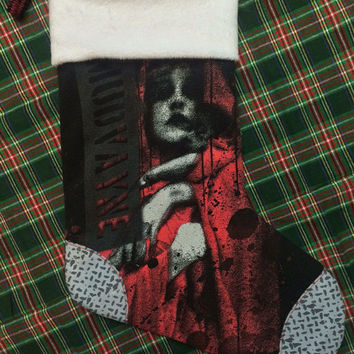 MUDVAYNE - Upcycled Rock Band T-shirt Christmas Stocking - OOAk