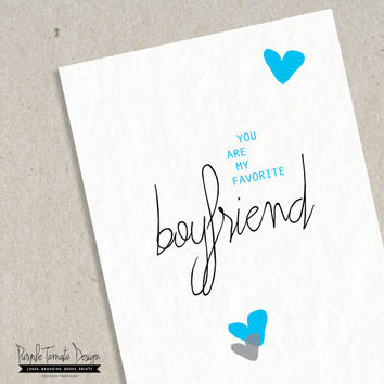 INSTANT DOWNLOAD You are my Favorite Boyfriend Card Printable with Envelope. Valentine's Day Card. Boyfriend Birthday Card Anniversary Card.