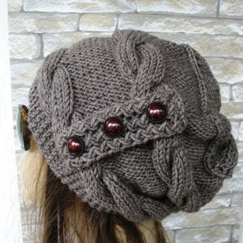 Womens Hat  Knit Beanie  hat  Slouchy Beanie   Cable Style  knit  Slouchy Hat  Button  Taupe   Hat  Ebruk  Winter  Accessories  Winter Hat