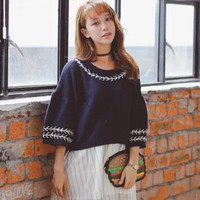 Embroidery Pullover Knitted Cropped Sweater
