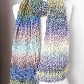 Big Knit Scarf, Pastels, Stripes, Beautiful