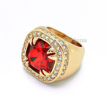 ESBA8C MENS BIG CHUNKY 14K GOLD PLATED ICED OUT RICH GANG RUBY RAPPER RING DR012RG