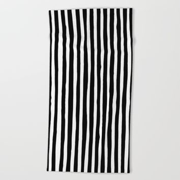 Black and White Vertical Stripes Beach Towel by Abigail Larson