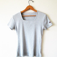 Vintage 1990s Tommy Hilfiger Ribbed Gray Squareneck Babydoll Tee Sz S