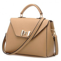 Fashion Metallic Bow and Solid Color Design Women's Tote Bag