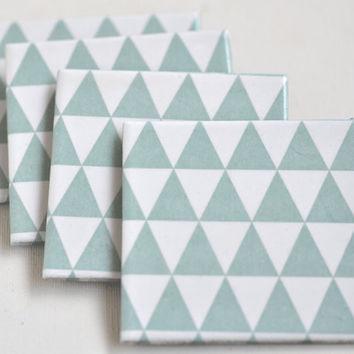 Tile Coasters Pale Mint Triangles Ceramic Coasters Pastel Modern Geometric Re-purposed, set of 4