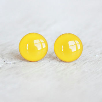MUSTARD - Stud Earrings - Yellow Studs - Yellow Earrings - Earrings in Mustard Yellow - Handmade Earrings by EarSugar