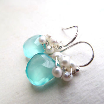 Beach Wedding Earrings Aqua Chalcedony Freshwater Pearls Wire Wrapped Sterling Gemstone Bridal Jewelry Maid of Honor Bridesmaids Gift