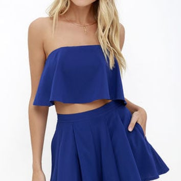 Squad Goals Royal Blue Strapless Two-Piece Set