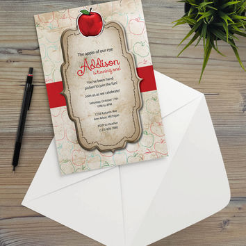 Instant Download - Country Apple Kitchen Bakery Rustic Illustration Cottage Shabby Chic Autumn Summer Party Invitation Template