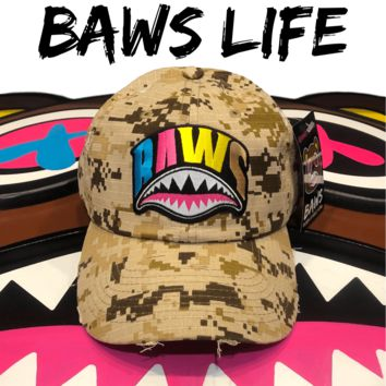 Crazy Shark Mouth Baws Desert Digi Camo Distressed Dad Hat