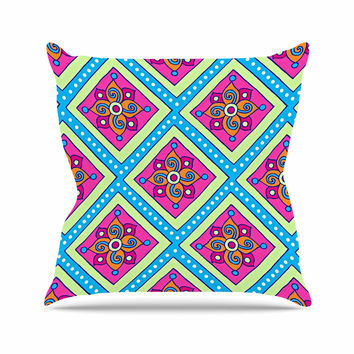 "Sarah Oelerich ""Colorful Diamonds"" Pink Blue Outdoor Throw Pillow"