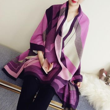 Fashion Plaid Print Cashmere Scarf 2017 Warm Colorful Cape Ukraine Shawl Wraps Female Blanket Square Poncho India Scraf Pashmina