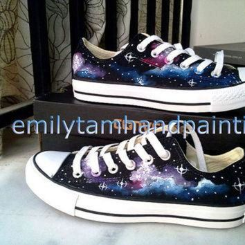 ESBONB Galaxy Converse Sneakers Galaxy Low Top Sneaker- Orginal Design Hand Painted Converse