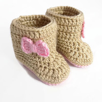 Crochet Baby Booties, Knit Baby Boots, Baby Girl Booties, Brown and Pink Baby Booties