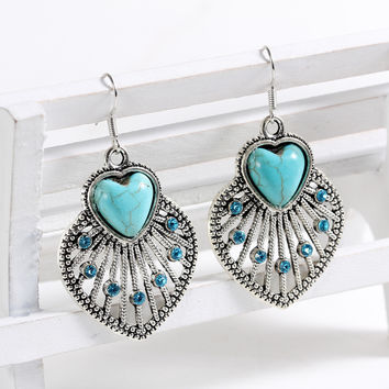 Earrings India Jewelry Tibetan Silver Turquoise Stone Earrings  blue Heart drop earrings big brincos vintage