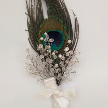 Rustic Wedding Feather Boutonniere,Wedding Boutonniere,Grooms Boutonniere,Beaded Boutonniere, Boutonniere With Peacock, Handmade Boutonniere