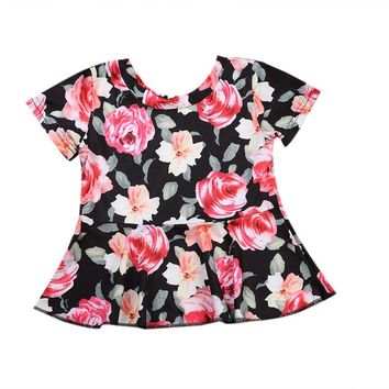 Newest Floral Toddler Infant Newborn Baby Girls Mini Dress Summer Cute Princess Clothes Casual Outfit Top Shirt 0-24M