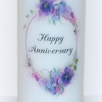 Happy anniversary candle, Wedding Candles, religious candle, celebration candles, 3 x 9, marriage candle, everlasting candle, custom candles