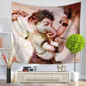 Home Decorative Wall Hanging Carpet Tapestry 130x150cm Rectangle Bedspread Creative India Elephant Ganesh Pattern GT1103