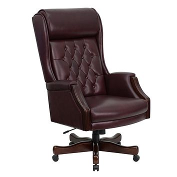 High Back Traditional Tufted Leather Executive Swivel Office Chair