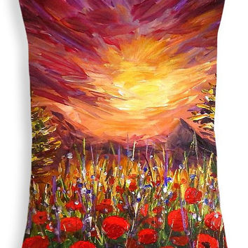 "Custom made decorative rectangular 20""x14""  throw pillow. Colorful pallet knife painting artwork on pillow, poppy field sunset print."