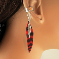 Ear Cuff Red Grizzly Feather Silver Metal Feather