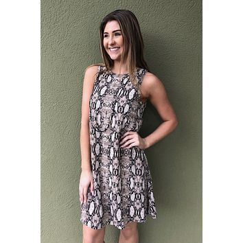 Crazy For Snakeskin Dress- Taupe