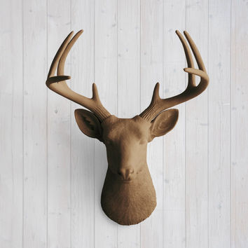 The Virginia Large Chocolate Brown Faux Taxidermy Resin Deer Head Wall Mount | Chocolate Brown Stag w/ Colored Antlers