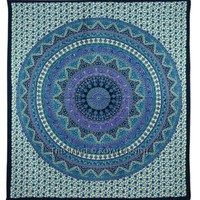 Queen Blue Mandala Psychedelic Bohemian Wall India Tapestry Bedspread - RoyalFurnish.com