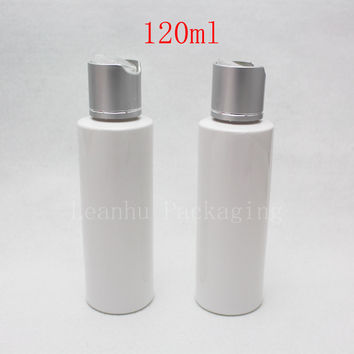 120ml X 50 white round empty plastic lotion bottles with silver aluminum disc top cap ,essential oil DIY SPA bottles container