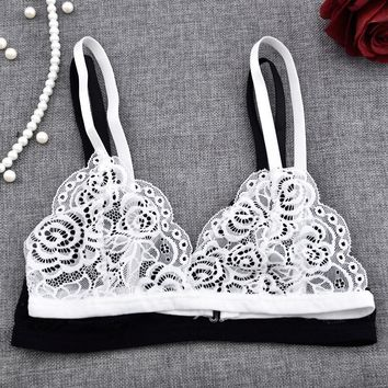 Hot Sale Sexy Women Floral Sheer Lace Triangle Bralette Bra Crop Top Bustier Unpadded Mesh Lined