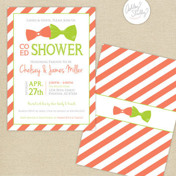 Co-Ed Baby Shower Bows and Bowties Stripes Invitation : Coral/Lime