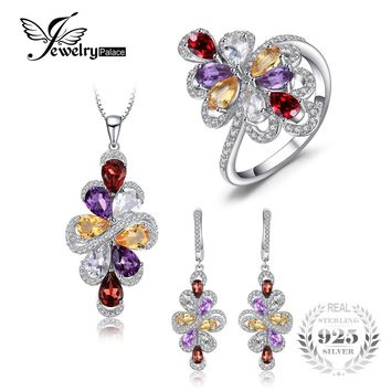 JewelryPalace luxury 10ct Pear Amethyst Garnet Citrine Pendant Necklace Drop Earrings Ring 925 Sterling Silver Fine Jewelry Sets