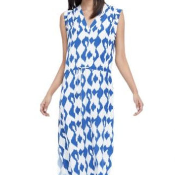 Sleeveless Printed Drawstring Waist Midi Dress