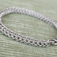 Chainmaille Sterling Silver Bracelet handmade Chainmail Bracelet  A1 chain mail jewelry chainmaille bracelet real silver wire