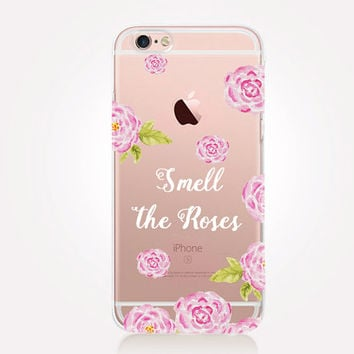 Transparent Smell The Roses iPhone Case - Transparent Case - Clear Case - Transparent iPhone 6 - Gel Case - Soft TPU Case - Samsung S7