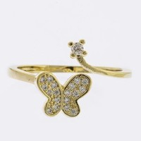CRYSTAL PAVE BUTTERFLY ORNATE ACCENT RING