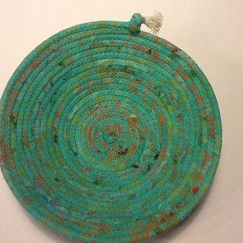 Blue Green Batik Coiled Rope Bowl, Turquoise Fabric Bowl, Catchall Basket
