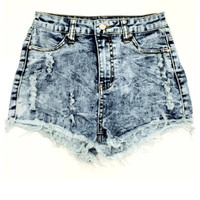 Jeannine High Waisted Shorts - Medium Acid Wash