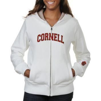 Cornell Big Red Ladies Huddle Full Zip Sherpa-Lined Hooded Jacket - White