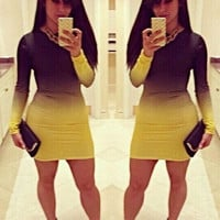 Faded Color Block Long Sleeve Bodycon Mini Dress