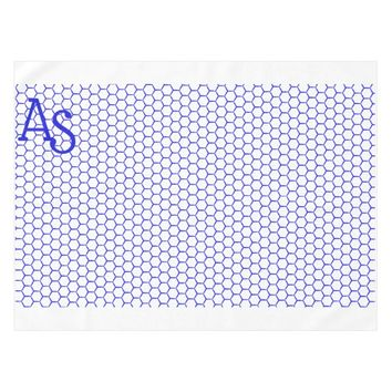 Blue pattern. Hexagonal grid. Monogram. Tablecloth