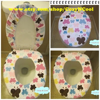 Toilet lid cover, Toilet seat cover,  butterflies print toilet lid & seat cover set, Cozy seat cover, comfy toilet seat,  fleece seat cover