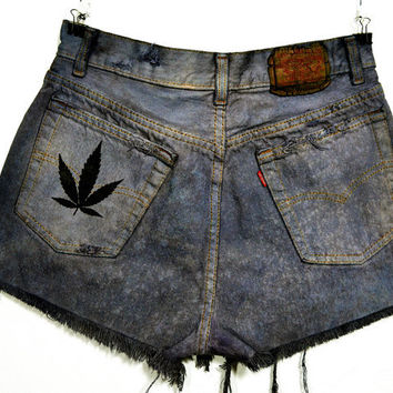 "Grunge Vintage Levi's 501 Marijuana Leaf Pocket print Hand Dyed Black Bleach Spots Cut Off Jean Short Grunge Women's Size 27"" waist"